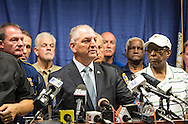 John Bel Edwards at press confernce in Baton Rouge.