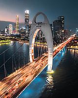 Aerial view of Liede bridge, Guangzhou, China