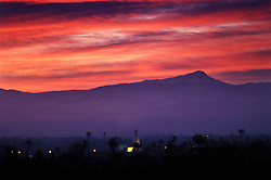 Mount Toubkal in the High Atlas at dawn viewed from Marrakech, Morocco.