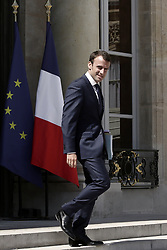 French Minister of Economy, Recovery of Productivity and Digital Affairs Emmanuel Macron leaves the Elysee Palace after the weekly cabinet meeting, in Paris, France on June 10, 2015. Photo by Stephane Lemouton/ABACAPRESS.COM