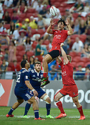 Canada's Nathan Hirayama catches a high ball during the HSBC World Rugby Sevens Series - Singapore match USA-V-Canada - Cup Final at The National Stadium, , , Singapore on Sunday, April 16, 2017. (Steve Flynn/Image of Sport)