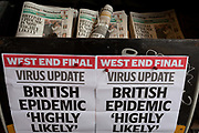 As the Coronovirus pandemic takes hold across the UK, with health authorities reporting cases rising from 25 to 87 in a single day, and resulting in the UKs chief medical officer Prof Chris Whitty announcing that an epidemic in the UK was highly likely, a pile of Evening Standard newspapers await readers at Victoria in central London, on 4th March 2020, in London, England.