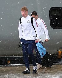 Kevin DeBruyne and Bernardo Silva and The Manchester City team are seen at Manchester Piccadilly Train Station on Thursday morning as they make their trip to London to face Arsenal in the premier league