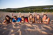 The Oregon Marching Band climbs the Sleeping Bear Dunes in Empire, Michigan on July 10, 2010.