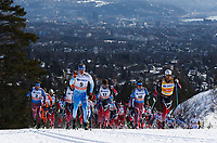 Langrenn<br /> FIS World Cup<br /> 11.03.2017<br /> Oslo Holmenkollen<br /> Foto: Gepa/Digitalsport<br /> NORWAY ONLY<br /> <br /> OSLO,NORWAY,11.MAR.17 - NORDIC SKIING, CROSS COUNTRY SKIING - FIS World Cup, 50km classic, mass start, men. Image shows Iivo Niskanen (FIN) and Martin Johnsrud Sundby (NOR) with the rest of the field.