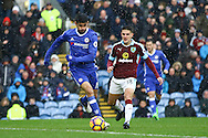 Diego Costa of Chelsea gets away from Ashley Westwood of Burnley. Premier league match, Burnley v Chelsea at Turf Moor in Burnley, Lancs on Sunday 12th February 2017.<br /> pic by Chris Stading, Andrew Orchard Sports Photography.