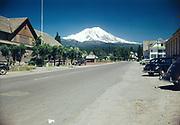 "CS01122-01. ""McCloud, California. August 1948""  (Siskiyou County, Mt. Shasta in background.)"