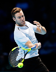 Jack Sock in action against Marin Cilic during day three of the NITTO ATP World Tour Finals at the O2 Arena, London.