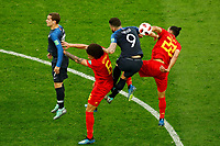 SAINT PETERSBURG, RUSSIA - JULY 10: Antoine Griezmann (L) and Olivier Giroud (N9) of France national team vie for the ball with Nacer Chadli (R) and Axel Witsel of Belgium national team during the 2018 FIFA World Cup Russia Semi Final match between France and Belgium at Saint Petersburg Stadium on July 10, 2018 in Saint Petersburg, Russia. MB Media