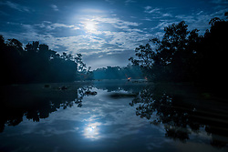 Reflection of moon in river, Orinoco River, Orinoco Delta, Venezuela