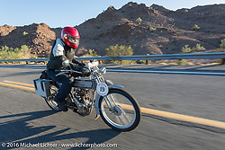 73 year-old artist, sculptor, photographer, and motorcycle-maniac Michael Gontesky of Virginia riding his 1911 Harley-Davidson 8A as he leaves Lake Havasu City during the Motorcycle Cannonball Race of the Century. Stage-14 ride from Lake Havasu CIty, AZ to Palm Desert, CA. USA. Saturday September 24, 2016. Photography ©2016 Michael Lichter.