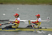 Munich, GERMANY, 30.08.2007, ROM W2-, bow Georgata DAMIAN-ANDRUNACHE, move way from the start in their Semi-Final of the Women's pairs.  Fifth day, at the 2007 World Rowing Championships, taking place on the   Munich Olympic Regatta Course, Bavaria. [Mandatory Credit. Peter Spurrier/Intersport Images]..... , Rowing Course, Olympic Regatta Rowing Course, Munich, GERMANY
