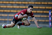 Will Jordan of the Crusaders scores a try during the Round 5 Trans-Tasman Super Rugby match between Melbourne Rebels and Canterbury Crusaders at Leichhardt Oval in Sydney, Saturday, June 12, 2021. (AAP Image/Dan Himbrechts) NO ARCHIVING, EDITORIAL USE ONLY
