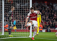 Football - 2018 / 2019 UEFA Europa League - Round of Thirty-Two, Second Leg: Arsenal (0) vs. BATE Borisov (1)<br /> <br />  Shkodran Mustafi (Arsenal FC) launches the the ball high in celebrations after scoring at The Emirates.<br /> <br /> COLORSPORT/DANIEL BEARHAM