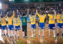 Players of Koper celebrate at Final match of Slovenian Men Handball Cup between RK Cimos Koper and RK Celje Pivovarna Lasko, on April 19, 2009, in Arena Bonifika, Koper, Slovenia. Cimos Koper won 24:19 and became Slovenian Cup Champion. (Photo by Vid Ponikvar / Sportida)