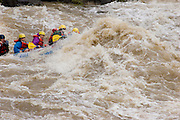 Closeup of swamped river rafters