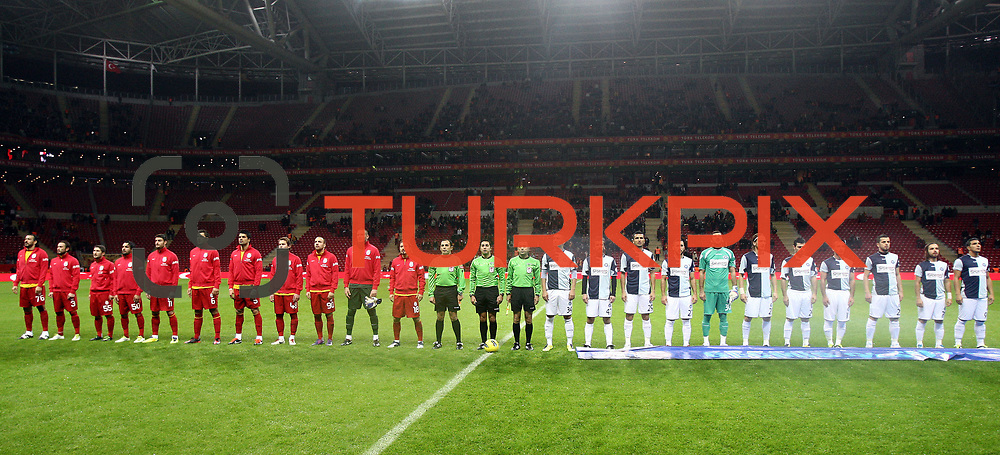 Galatasaray's and AdanaDemirspor's players during their Turkey Cup matchday 3 soccer match Galatasaray between AdanaDemirspor at the Turk Telekom Arena at Aslantepe in Istanbul Turkey on Tuesday 10 January 2012. Photo by TURKPIX
