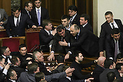 Dec. 11, 2015 - Kiev, Ukraine - <br /> <br /> Ukrainian PM attacked during his annual report<br /> <br /> Lawmakers of Ukrainian Parliament scuffle during the debriefing of Government. Verkhovna Rada of Ukraine debrief the year report of the Prime Minister Arsenii Yatseniuk December 11, 2015. <br /> ©Exclusivepix Media
