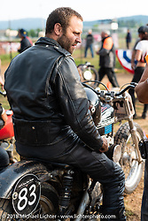 Matt Rush at the Spirit of Sturgis antique motorcycle flat track race at the historic Sturgis Half Mile during the 78th annual Sturgis Motorcycle Rally. Sturgis, SD. USA. Monday August 6, 2018. Photography ©2018 Michael Lichter.