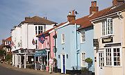 Colourful row of buildings in Aldeburgh, Suffolk, England