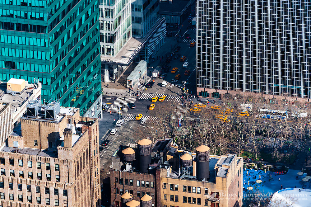 US, New York City. View from the Empire State Building observation deck. Bryant Park.