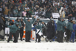 Philadelphia Eagles cornerback Bradley Fletcher #24 carries the ball during the NFL game between the Detroit Lions and the Philadelphia Eagles on Sunday, December 8th 2013 in Philadelphia. This play was called back due to a dead ball. The Eagles won 34-20. (Photo by Brian Garfinkel)