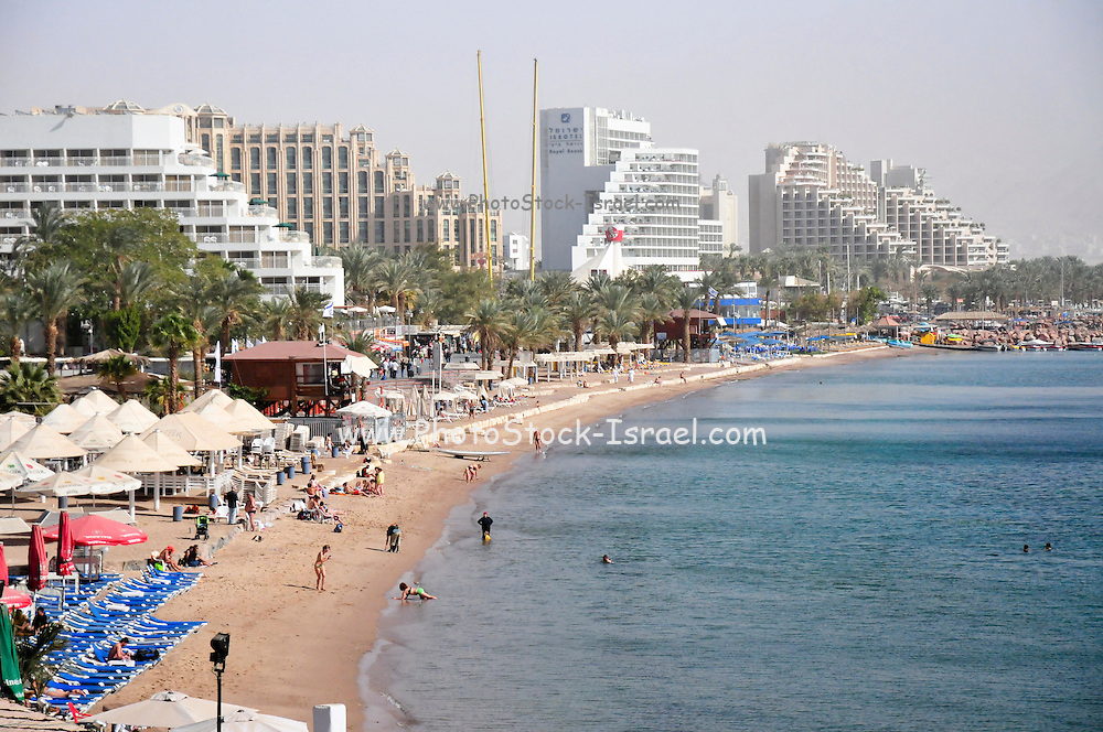 Israel, Eilat Beach Hotels in the background
