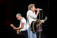UK. Knebworth. Roger Daltry and Pete Townsend of The Who play live at Hedgestock, the first event of it's kind for the Hedge Fund industry to meet and mix in an atmosphere of 'love and peace'.