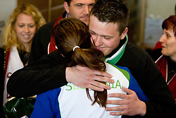 Slovenian bronze medalist cross-country skier Petra Majdic with her brother Gasper  at arrival to Airport Joze Pucnik from Vancouver after Winter Olympic games 2010, on March 1, 2010 in Brnik, Slovenia. (Photo by Vid Ponikvar / Sportida)