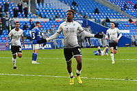 Football - 2020 / 2021 Sky Bet Championship - Cardiff City vs Swansea City - Cardiff City Stadium<br /> <br /> <br /> Jamal Lowe of Swansea celebrates scoring his team's second goal in a stadium without fans because of the pandemic crisis<br /> <br /> COLORSPORT/WINSTON BYNORTH