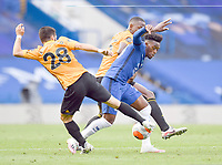 Football - 2019 / 2020 Premier League - Chelsea vs. Wolverhampton Wanderers<br /> <br /> Chelsea's Callum Hudson-Odoi battles for possession with Wolverhampton Wanderers' Willy Boly and Joao Moutinho, at Stamford Bridge.<br /> <br /> COLORSPORT/ASHLEY WESTERN