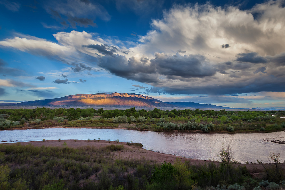 The Sandia Mountains that border Albuquerque to the East as seen from the Bosque in Corrales, NM, along the Rio Grande River.