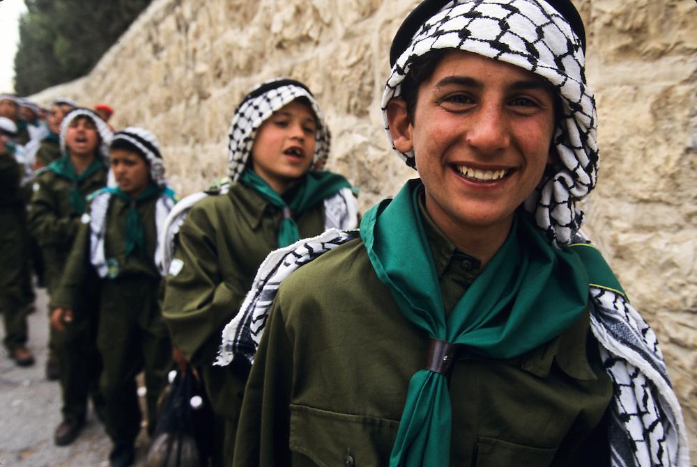 Boys in their unforms in Jerusalem.