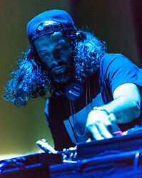 © Licensed to London News Pictures. 01/05/2015. London, UK.   Kutmah performing live at Brixton Academy, supporting headliner Flying Lotus. Kutmah is Jason 'Kutmah' McNulty, a DJ and music producer.    Photo credit : Richard Isaac/LNP