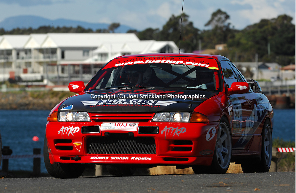 #803 - Stephen Thatcher & Kelly Handley - 1994 Nissan ATTKD Select R SP.Prologue.George Town.Targa Tasmania 2010.27th of April 2010.(C) Joel Strickland Photographics.Use information: This image is intended for Editorial use only (e.g. news or commentary, print or electronic). Any commercial or promotional use requires additional clearance.