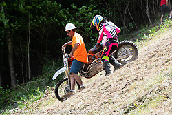 Didn't make it up the hill at the Gunstock Hillclimbs during Laconia Motorcycle Week. NH, USA. Wednesday, June 13, 2018. Photography ©2018 Michael Lichter.