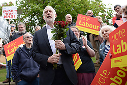 Labour leader Jeremy Corbyn with supporters at Underhill Circus Shops in Oxford.
