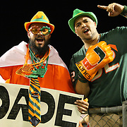 Miami Hurricane fans are seen during the NCAA Football Russell Athletic Bowl football game between the Louisville Cardinals and the Miami Hurricanes, at the Florida Citrus Bowl on Saturday, December 28, 2013 in Orlando, Florida. (AP Photo/Alex Menendez)