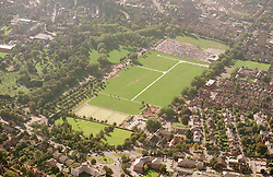 Ariel view of Nottingham taken from Mapperly Park area looking southwest over the Forest recreation area, Nottingham High school is at the top lefthand corner,