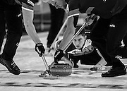 """Glasgow. SCOTLAND. [L]Hammy McMILLAN and Ross PATERSON, sweeping Glen MUIRHEAD""""S, Stone during the  """"Round Robin"""" Game,  Scotland vs Italy at the Le Gruyère European Curling Championships. 2016 Venue, Braehead  Scotland<br /> Wednesday  23/11/2016<br /> <br /> [Mandatory Credit; Peter Spurrier/Intersport-images]"""