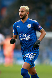 """Leicester City's Riyah Mahrez during the Premier League match at the King Power Stadium, Leicester. PRESS ASSOCIATION Photo Picture date: Saturday December 2, 2017. See PA story SOCCER Leicester. Photo credit should read: Mike Egerton/PA Wire. RESTRICTIONS: EDITORIAL USE ONLY No use with unauthorised audio, video, data, fixture lists, club/league logos or """"live"""" services. Online in-match use limited to 75 images, no video emulation. No use in betting, games or single club/league/player publications."""