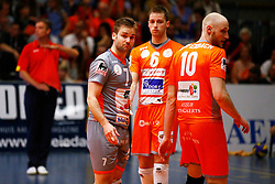 20150501 BEL: Volley Behappy2 Asse-Lennik - Knack Roeselare, Zellik<br />Dirk Sparidans (7) , Robbert Andringa (6), Jasper Diefenbach (10) of Volley behappy2 Asse - Lennik<br />©2014-FotoHoogendoorn.nl / Pim Waslander