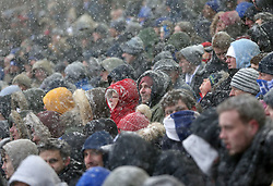 Birmingham City's snow covered fans in the stands against Hull City during the match at St Andrew's Stadium