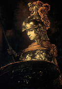 Pallas Athene' (Armoured Figure), 1664-1665. Oil on canvas.Rembrandt Harmenszoon van Rijn (1606-1669) Dutch painter and etcher. Athene, patron goddess of Athens. Goddess of wisdom. Roman Minerva. Greek Mythology
