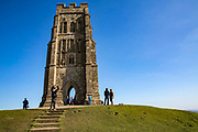 Glastonbury Tor, the ruins of St Michaels tower that sits on top of the hill in Glastonbury, Somerset. <br /> A prominent hill overlooking the Isle of Avalon, Glastonbury and the Somerset Levels. It has been a site of religious significance for over 1000 years and is considered one of the most spiritual sites in the United Kingdom, especially for Pagans.