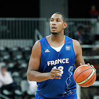04 August 2012: France Boris Diaw brings the ball upcourt during 73-69 Team France victory over Team Tunisia, during the men's basketball preliminary, at the Basketball Arena, in London, Great Britain.