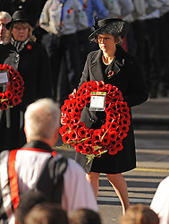 Prime Minister Theresa May lays a wreath during the annual Remembrance Sunday Service at the Cenotaph memorial in Whitehall, central London, held in tribute for members of the armed forces who have died in major conflicts.