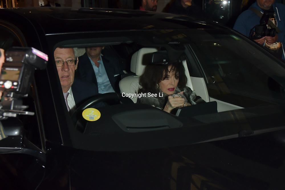 Joan Collins arrives at Tramp Members Club 40 Jermyn Street, on 23 May 2019, London, UK.