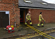 © Licensed to London News Pictures. 22/11/2012. Oxfordshire, UK Firemen pump out water after the River Cherwell flooded the Mill Arts Centre in Banbury. Flooding in Oxfordshire today 22 November 2012. Heavy rain across large parts of the South West of the country has caused widespread flooding. Photo credit : Stephen Simpson/LNP