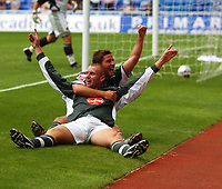Photo: Alan Crowhurst.<br /> Reading v Plymouth Argyle. Coca Cola Championship.<br /> 06/08/2005. Nick Chadwick celebrates his winner for Plymouth.